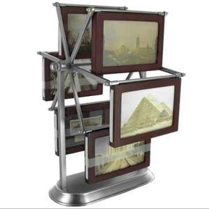 "Other - Carousel Photo Frame Walnut Pewter 12 photos 5""x3"""